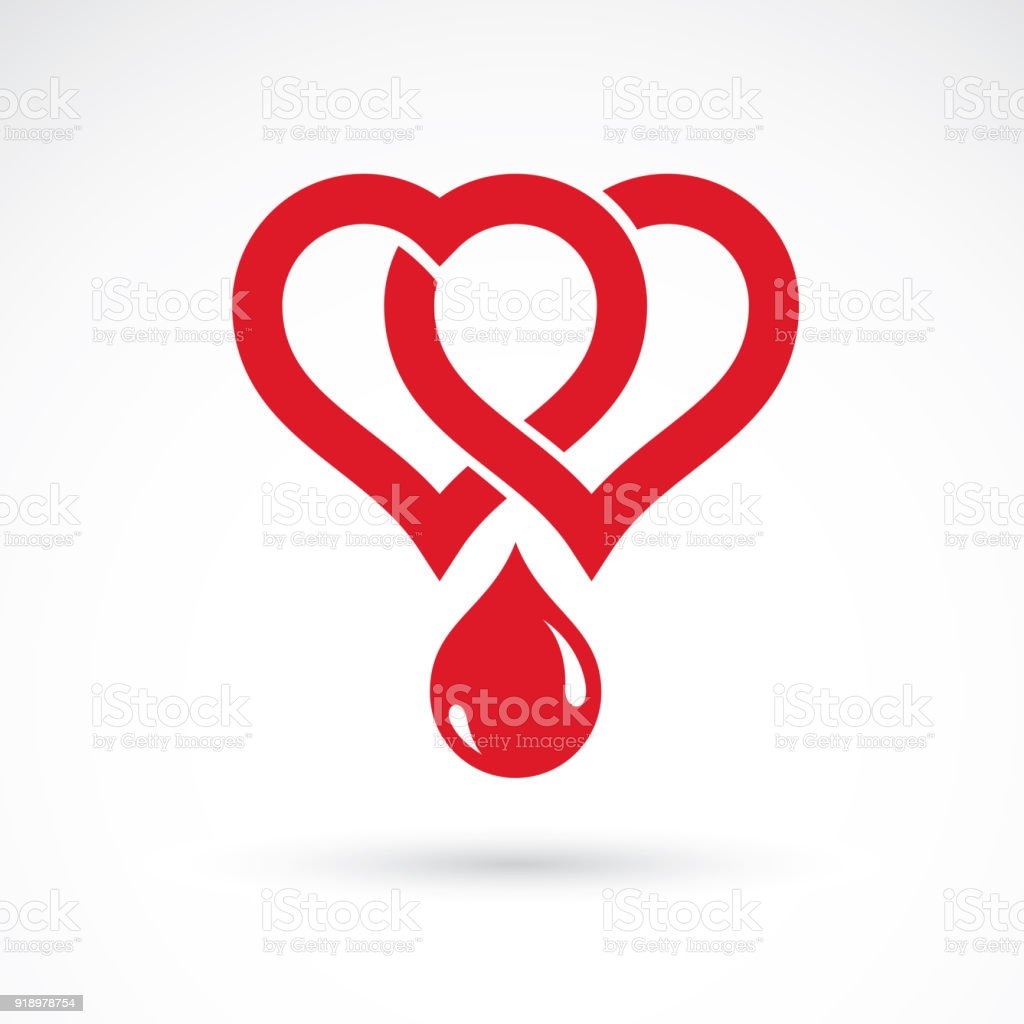 Vector illustration of heart shape and drops of blood. Cardiovascular system diseases remedy conceptual symbol for use in pharmacy. vector art illustration