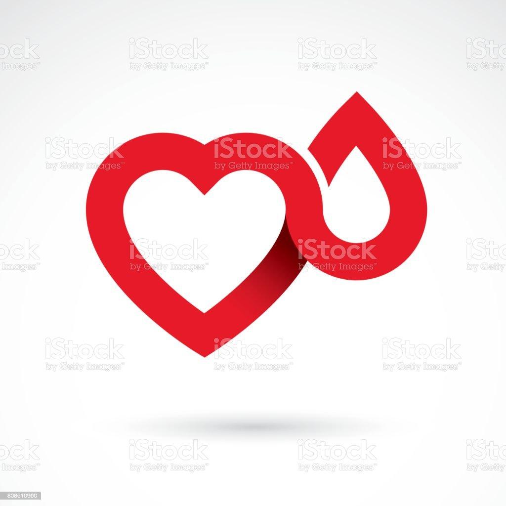 Vektor-Illustration der Herzform isoliert auf weiss. Hämatologie Thema, medizinische Behandlung-Design für den Einsatz im Apothekengeschäft. – Vektorgrafik