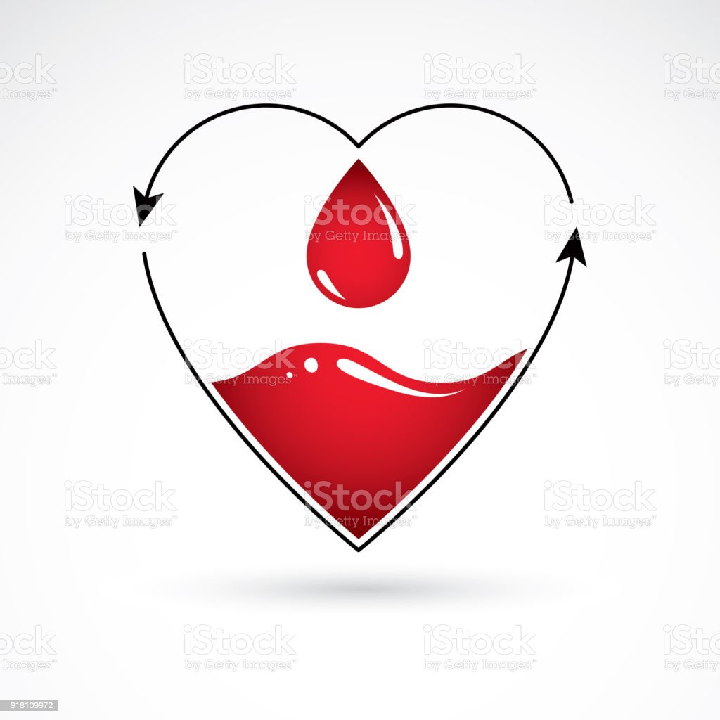 Vector illustration of heart shape with arrows and drops of blood. Cardiovascular illness treatment concept for use as cardio center emblem. vector art illustration