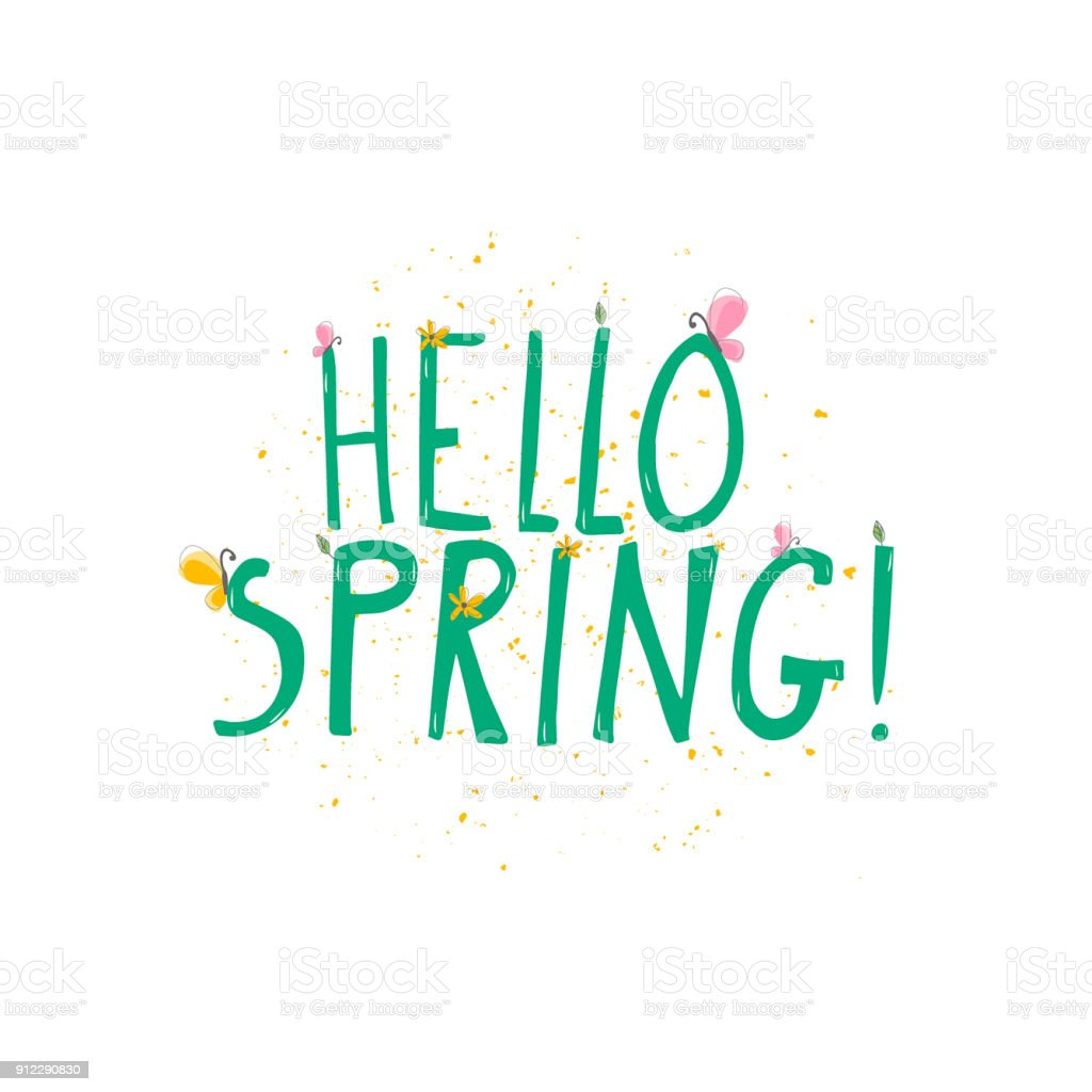 Vector Illustration Of Hello Spring Green Words With Color Blots And ...