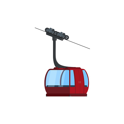 Vector illustration of high detailed cable car and model of a Cable-way Car System.
