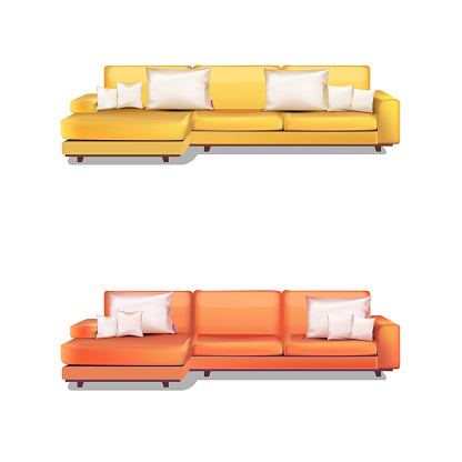 Vector illustration of high detailed sofa and pillows,Yellow and Orange colors .