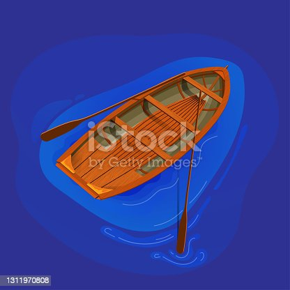 Vector illustration of high detailed wooden boat with  oars.