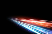 Vector illustration of high speed light effect on black background. movie effect, motion, night lights