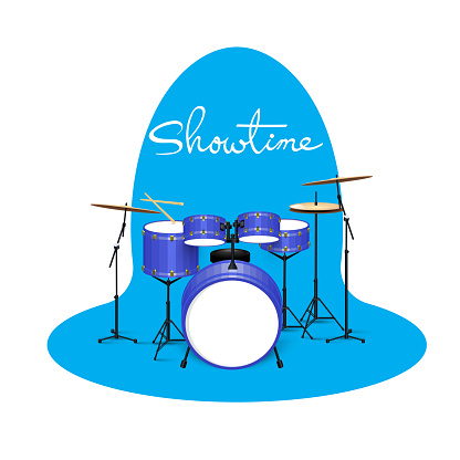 Vector illustration of high-quality detailed Acoustic Drum Kit .Showtime.Rock music ,Live music instruments.Close-up drum set.