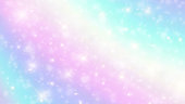 istock Vector illustration of holographic background and pastel color.The unicorn in pastel sky with rainbow. Pastel clouds and sky with bokeh. Cute bright candy background. EPS 10 1159645748