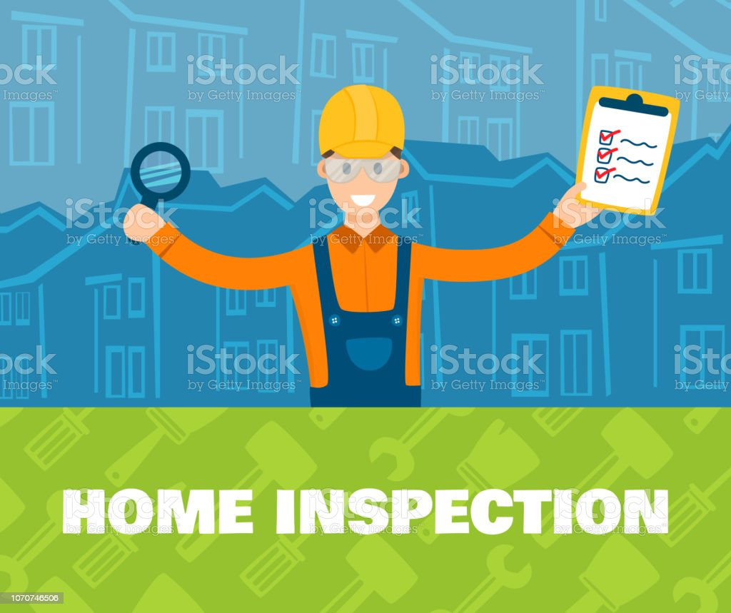 A vector illustration of home inspector in front vector art illustration