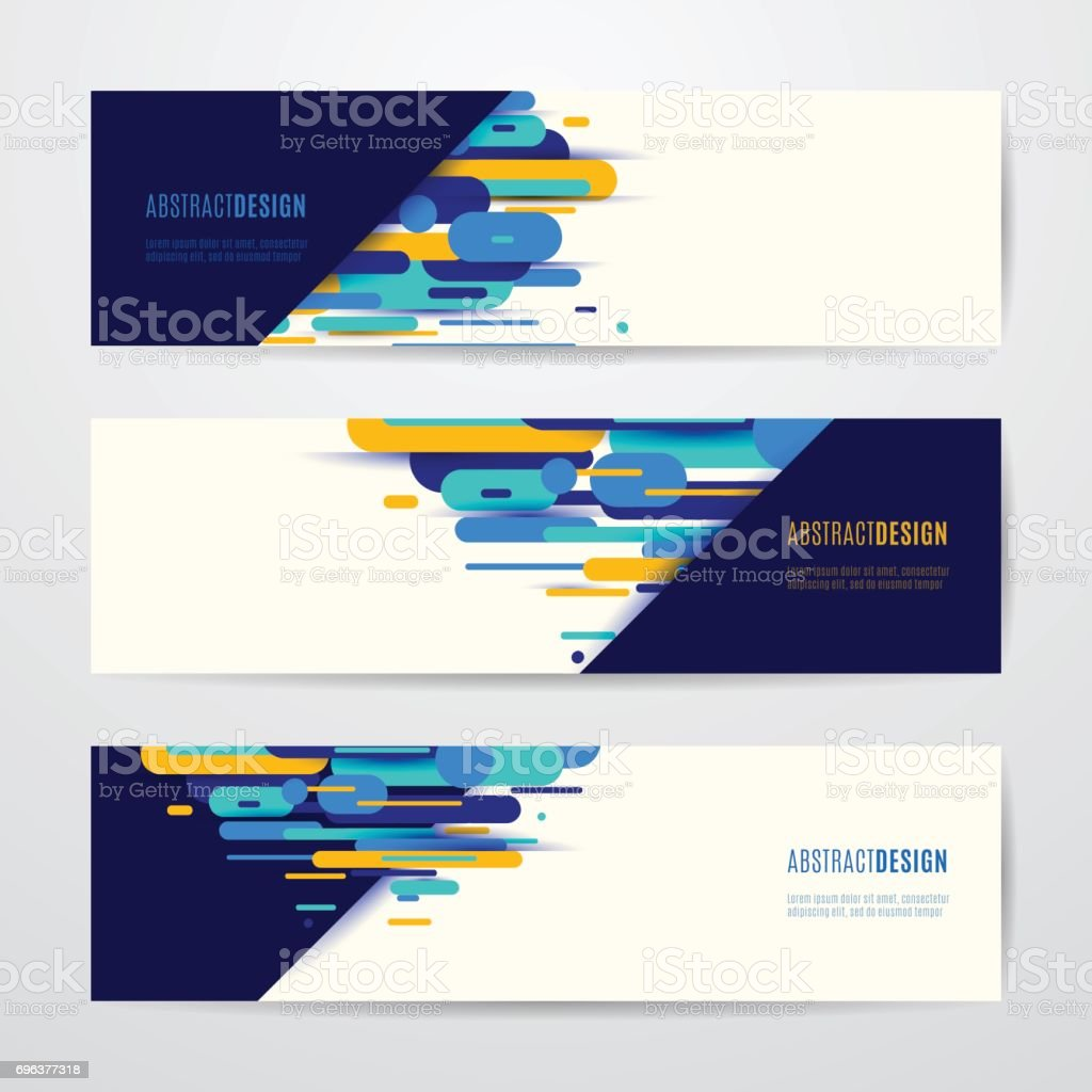 Vector illustration of horizontal geometry round, diagonal and line banner set