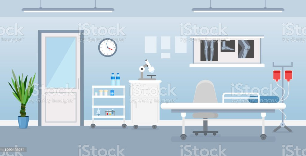Vector illustration of hospital room interior with medical tools, bed...