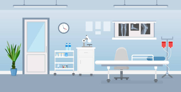 ilustrações de stock, clip art, desenhos animados e ícones de vector illustration of hospital room interior with medical tools, bed and table. room in hospital in flat cartoon style. - office background
