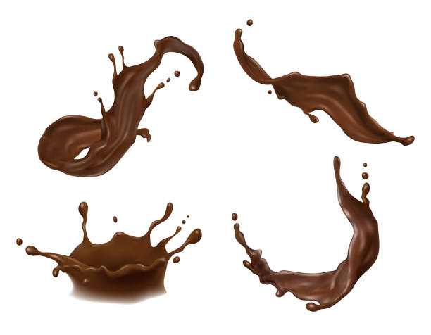 vector illustration of hot chocolate, cacao or coffee splash with drops, blobs, blots isolated on white background. - chocolate stock illustrations
