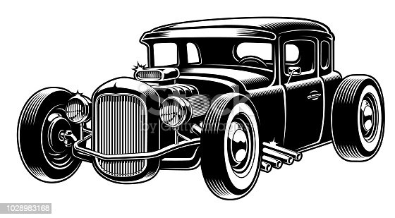 Vector illustration of classic hot rod, isolated on the white background.