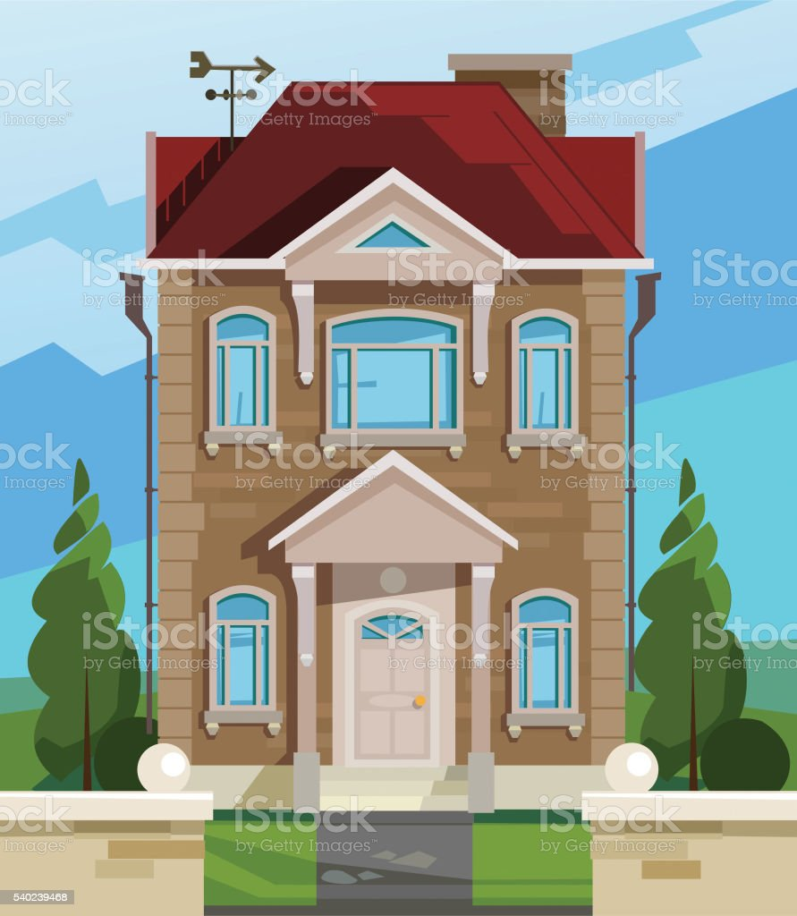 Illustrazione vettoriale casa facciata di casa inglese for Piani di casa inglese