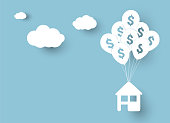Vector illustration of house hanging on balloons with sign of dollar, over blue sky background and clouds with shadow. Business or real estate concept.
