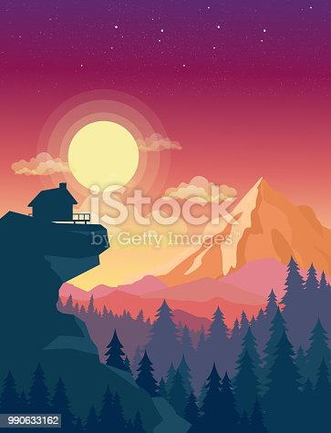 Vector illustration of house on top of mountain with beautiful sunset in mountains landscape on background, sun and clouds in sky in flat style