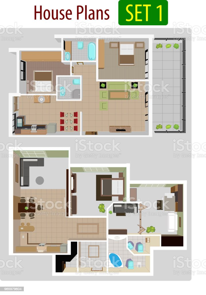 Vector illustration of House plan version 1. - Royalty-free Apartment stock vector