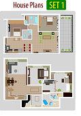 Vector illustration of House plan version 1.