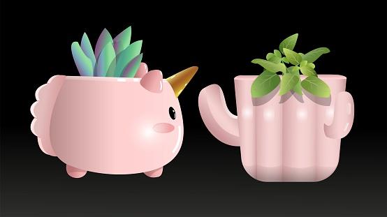 Vector illustration of house plants with cute flowerpots, Unicorn pot, cactus pot.