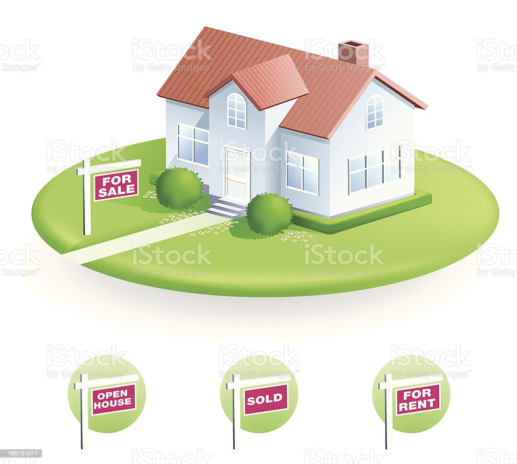 Vector illustration of house with For Sale sign royalty-free stock vector art