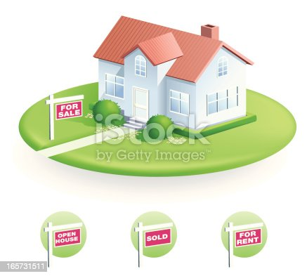 istock Vector illustration of house with For Sale sign 165731511