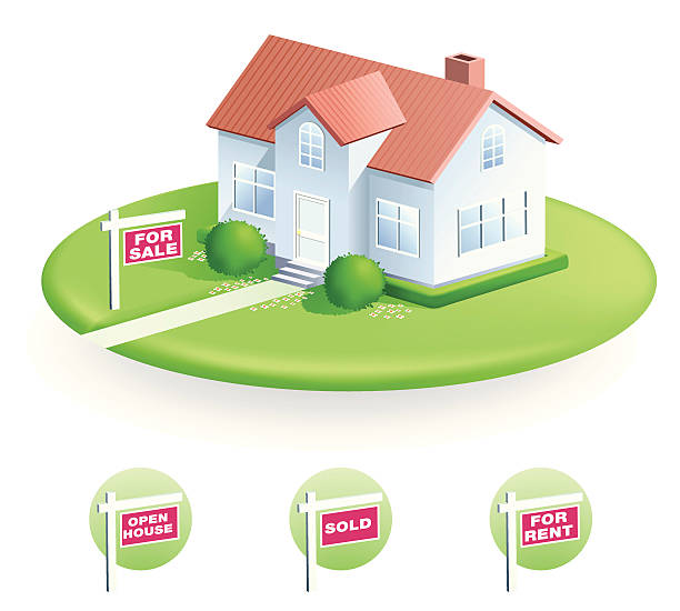 stockillustraties, clipart, cartoons en iconen met vector illustration of house with for sale sign - garden house