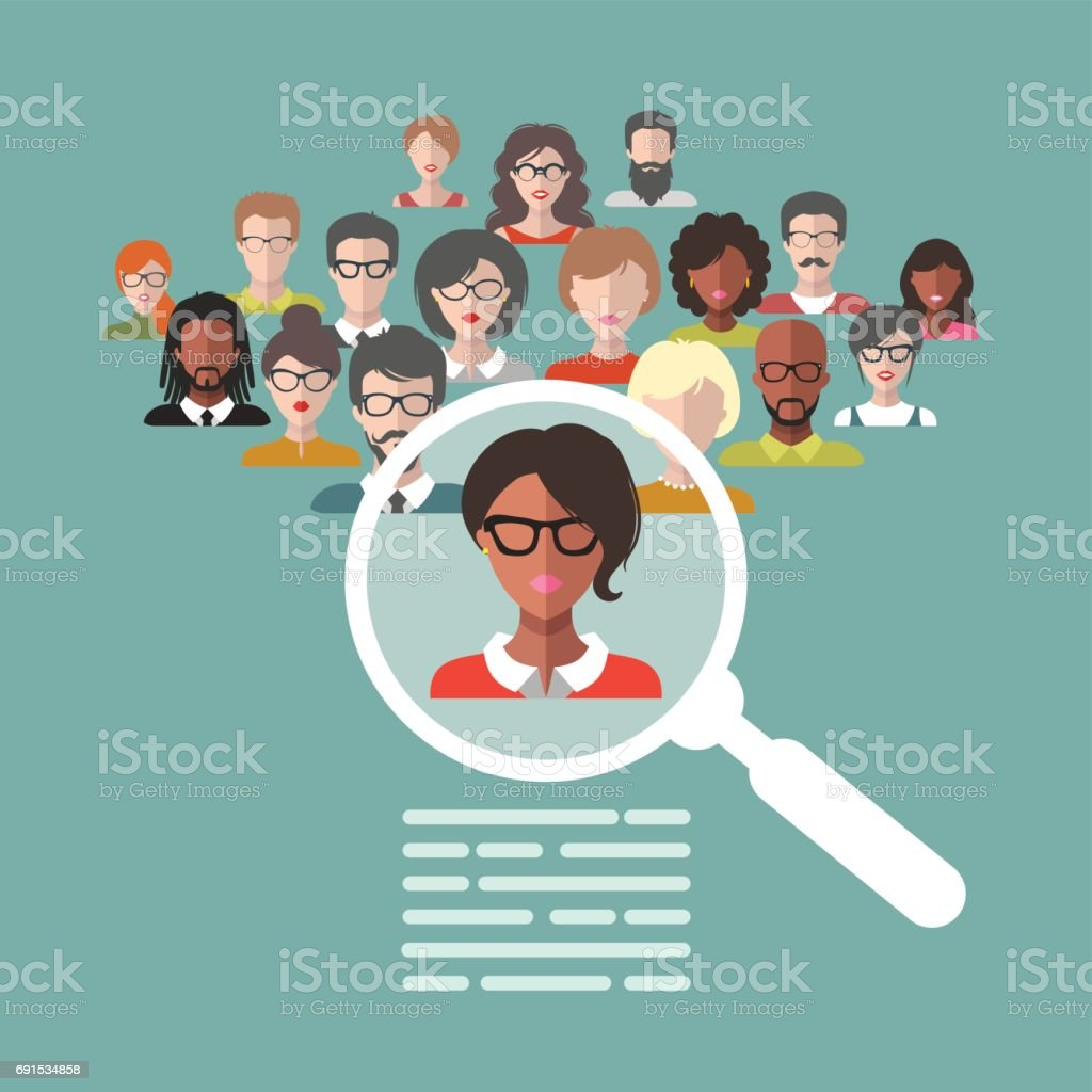 Vector illustration of human resources management, staff research, head hunter job with magnifying glass in flat style. vector art illustration