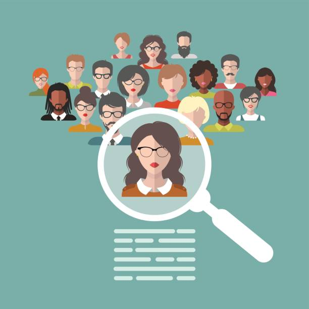 Vector illustration of human resources management, staff research, head hunter job with magnifying glass in flat style. Vector illustration concept of human resources management, professional staff research, head hunter job with magnifying glass in flat style. candidate stock illustrations