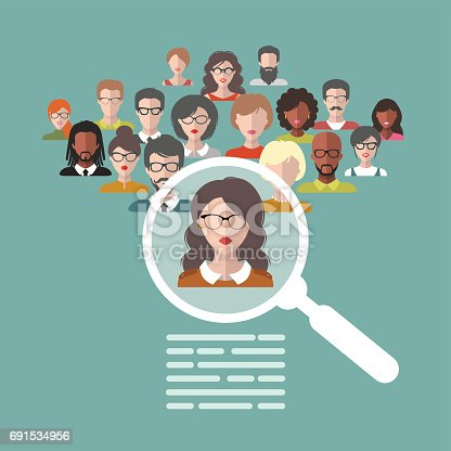 Vector illustration of human resources management staff for The craft of research audiobook