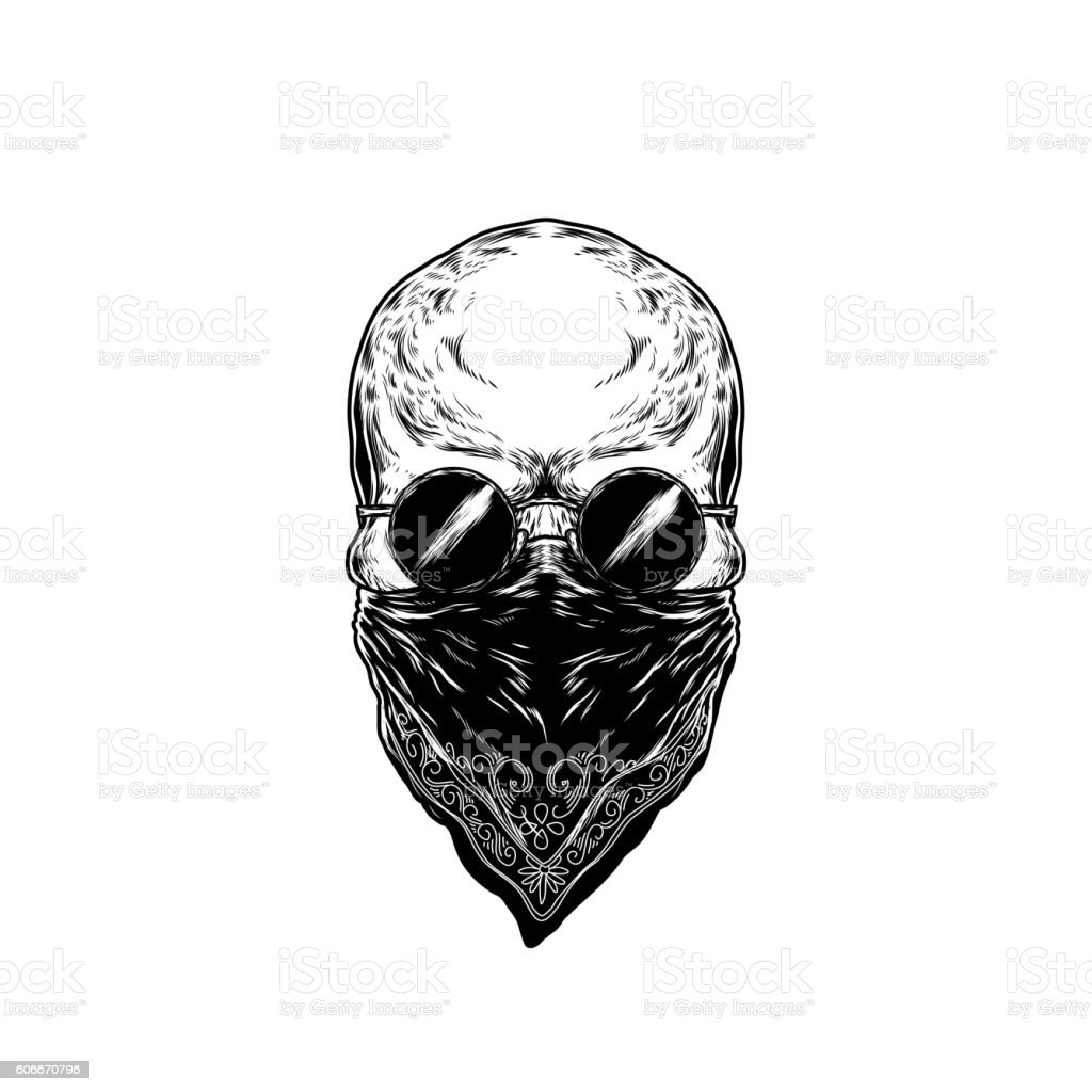 Vector illustration of human skull with glasses vector art illustration