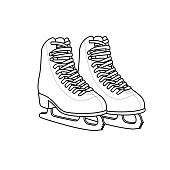 istock Vector illustration of ice skates isolated on white background. Clothing costumes and accessories concept. Cartoon characters. Education and school kids coloring page, printable, activity, worksheet, flashcard. 1319338230