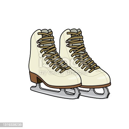 istock Vector illustration of ice skates isolated on white background. Clothing costumes and accessories concept. Cartoon characters. Education and school kids coloring page, printable, activity, worksheet, flashcard. 1319338235