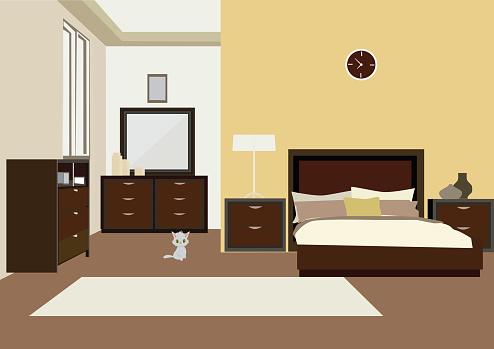 vector illustration of illustration of  bedroom interior