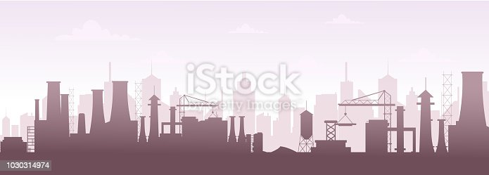 istock Vector illustration of industrial buildings silhouette skyline. Modern city landscape, factory pollution in flat style. 1030314974
