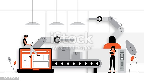 Vector Illustration of Industry 4.0 Concept. Flat Modern Design for Web Page, Banner, Presentation etc.