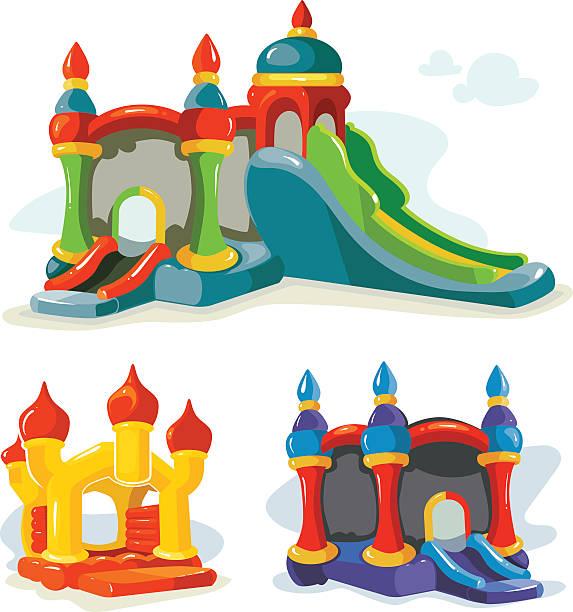 stockillustraties, clipart, cartoons en iconen met vector illustration of inflatable castles and children hills on playground - mini amusementpark