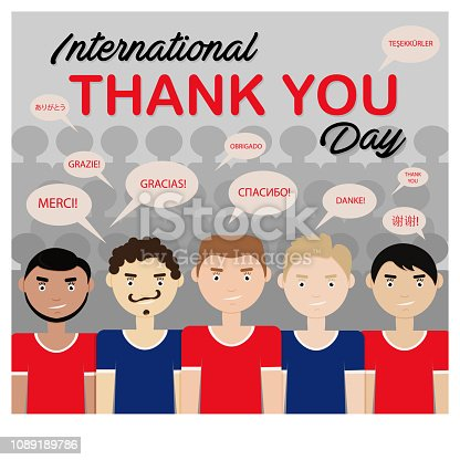 Vector Illustration of International Thank You Day. Drawing with People and Thanks in Different Languages. Usable for Greeting Card, Invintation, Flyer, Banner, Poster and etc