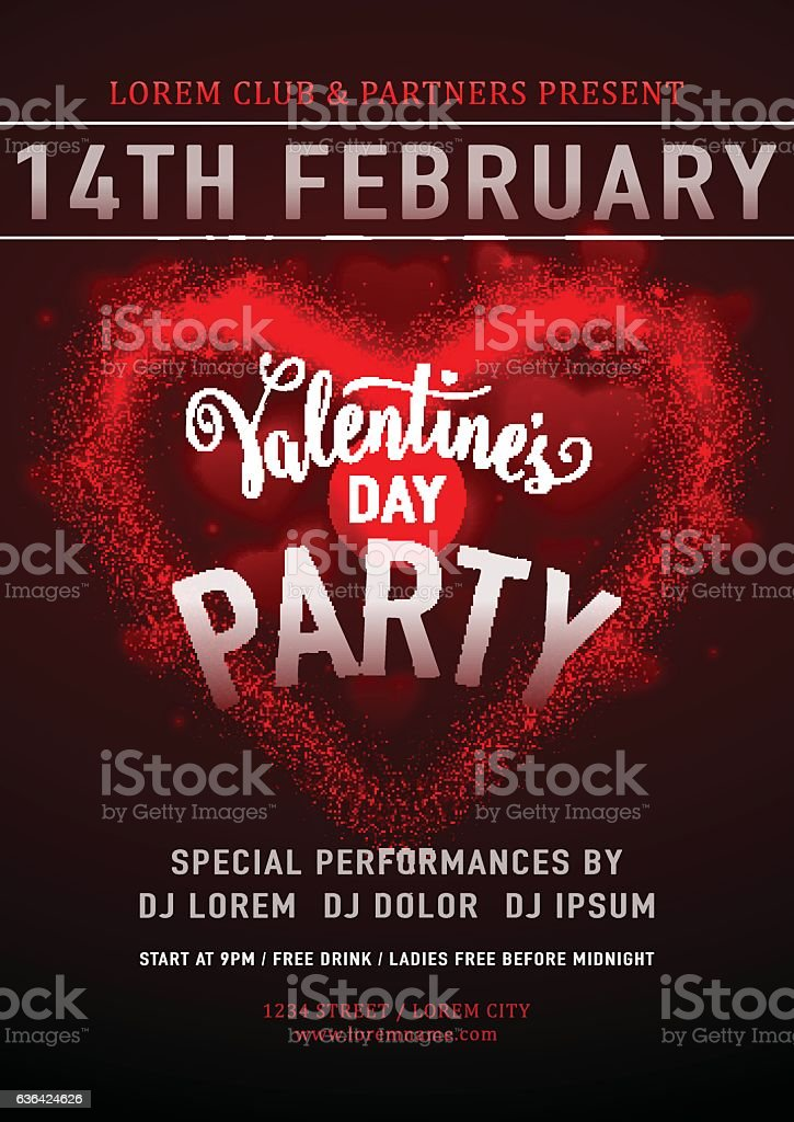 Vector Illustration Of Invitation Valentines Day Party Poster