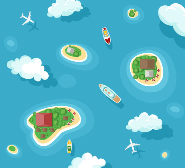 Vector illustration of islands top view with boats and plans. Ocean summer vacation. Travel concept with yacht, airplane, palms and clouds in flat style. Vector illustration of islands top view with boats and plans. Ocean summer vacation. Travel concept with yacht, airplane, palms and clouds in flat style island stock illustrations
