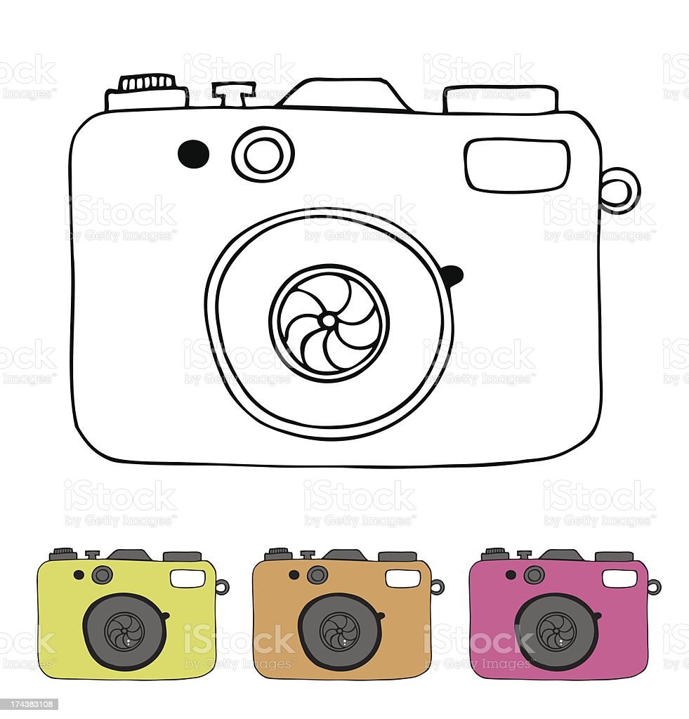 Vector illustration of isolated camera in retro style royalty-free stock vector art