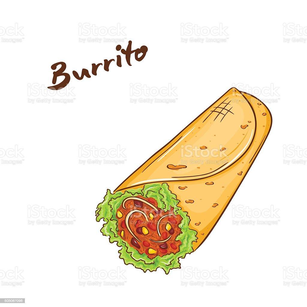 vector illustration of isolated cartoon hand drawn fast food. burrito vector art illustration