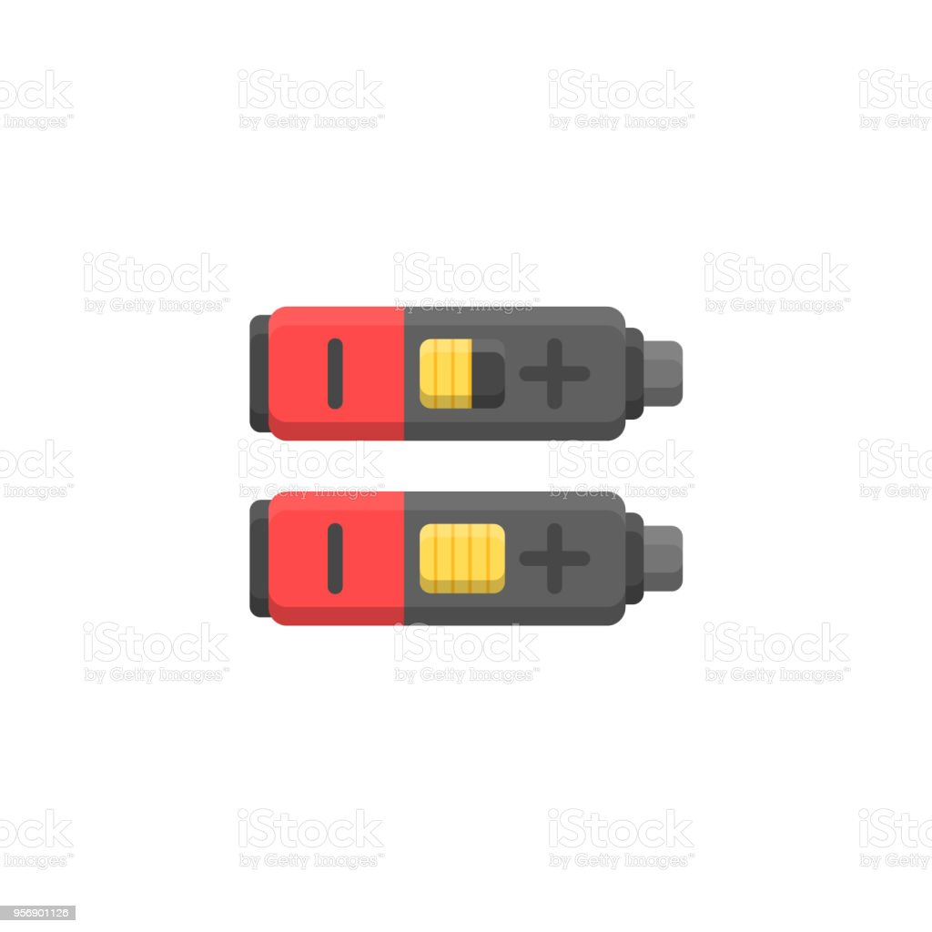 Vector illustration of isolated cylinder batteries vector art illustration