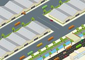 Vector illustration of isometric factory, warehouse exterior and unloading delivery vehicles with highways and rivers