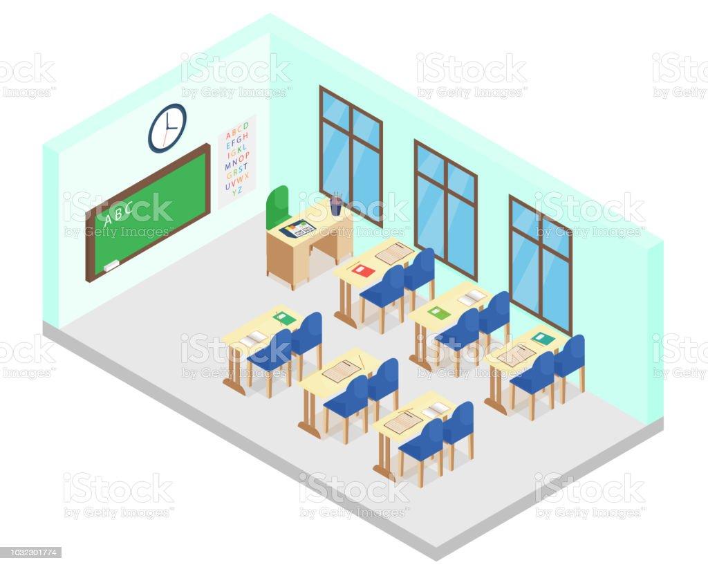 La De Classe Vectorielle Illustration École Isométrique Salle 1Fc3lKJT