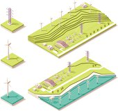 Vector isometric map representing offshore and onshore wind farms