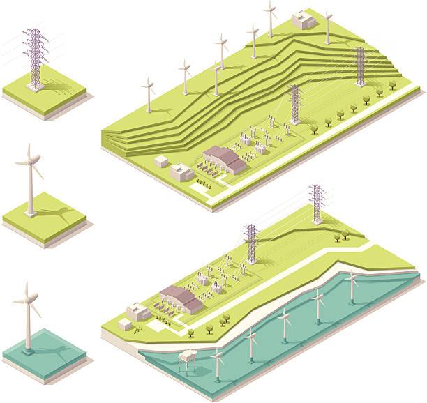 vector illustration of isometric wind farm - rüzgar değirmeni stock illustrations