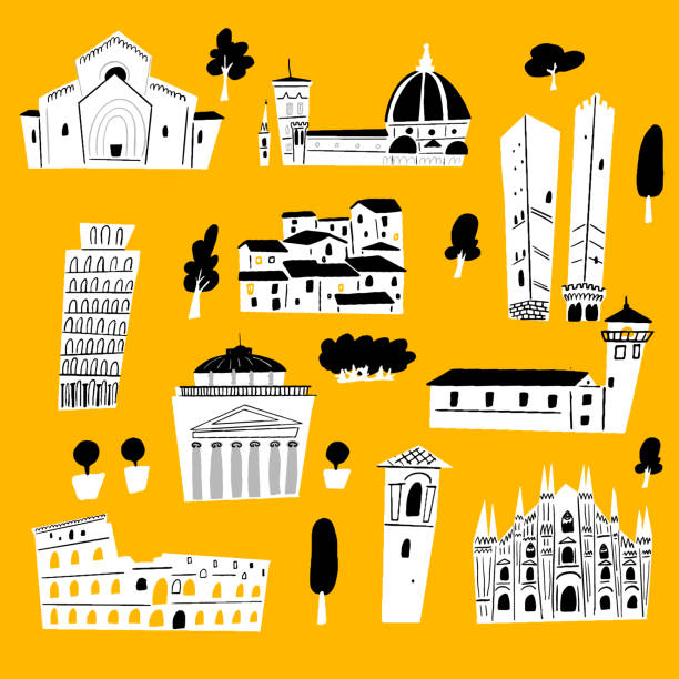 illustrazioni stock, clip art, cartoni animati e icone di tendenza di vector illustration of italian architecture and tourist attraction. - palermo città