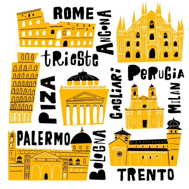 illustrazioni stock, clip art, cartoni animati e icone di tendenza di vector illustration of italian architecture with hand drawn lettering. symbols of italy. - palermo città