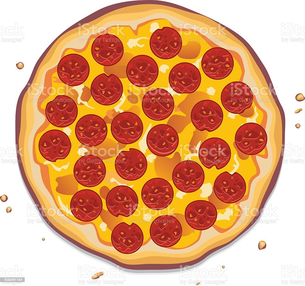 Vector Illustration Of Italian Pizza With Pepperoni Slices ...