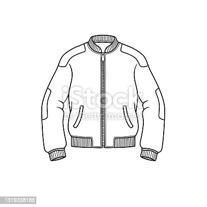 Vector illustration of jacket isolated on white background. Clothing costumes and accessories concept. Cartoon characters. Education and school kids coloring page, printable, activity, worksheet, flashcard.
