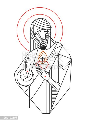 istock Vector illustration of Jesus Christ Sacred Heart 1262152651